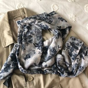 H&M Accessories - H&M airy lightweight gray & blue floral scarf wrap